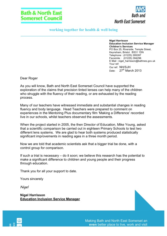 Letter to Roger Hall from Nigel Harrison 27th March 2013
